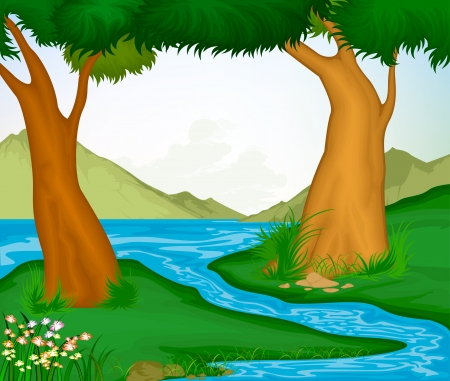 Beautiful landscape of trees and rivers