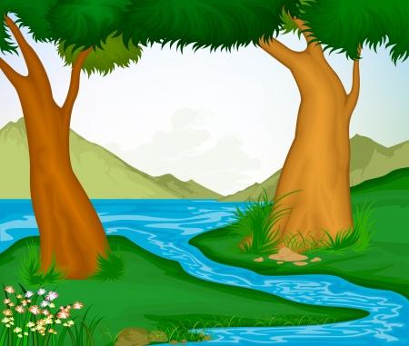 arboles de caricatura: Hermoso paisaje de �rboles y r�os