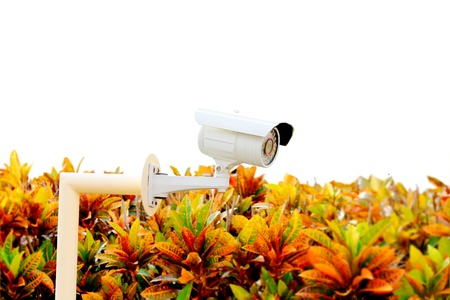 24 hour: CCTV in the village. 24 hour security Stock Photo