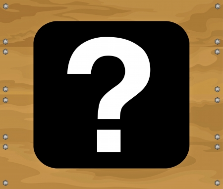 Question mark symbol on brown wooden background Vector