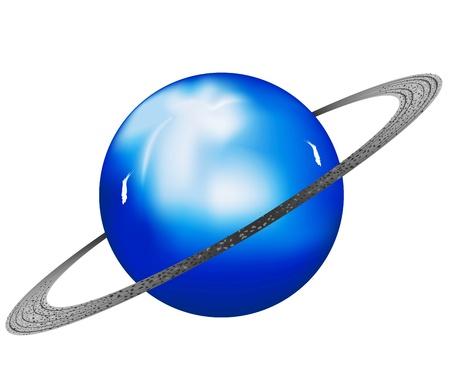 白い背景の上のベクトル イラスト天王星の惑星