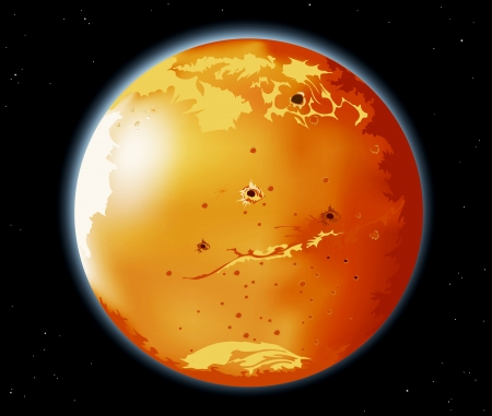 Mars planet in the universe background