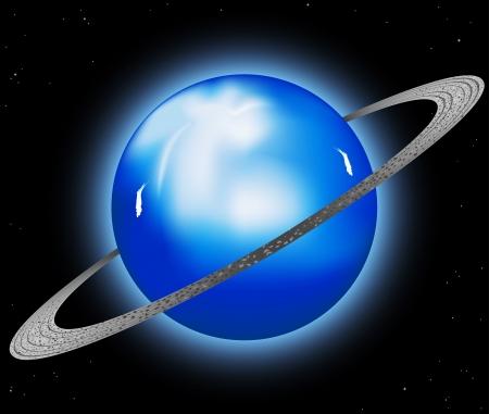 uranus: Beautiful Uranus planet in the universe background Illustration