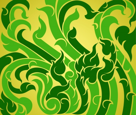 contemporary style: Green vine pattern,contemporary Thai art style background
