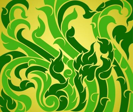 Zielony wzór winorośli, nowoczesny styl sztuki tła Thai Ilustracja