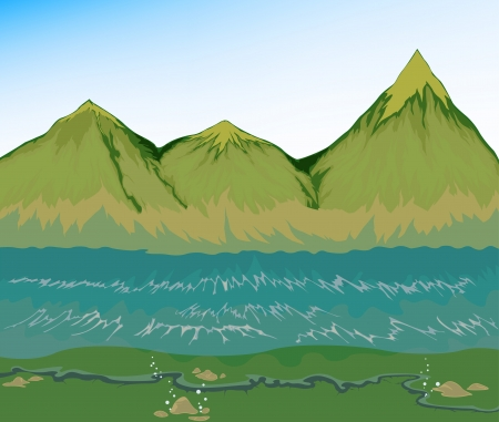 High tide sea with mountain