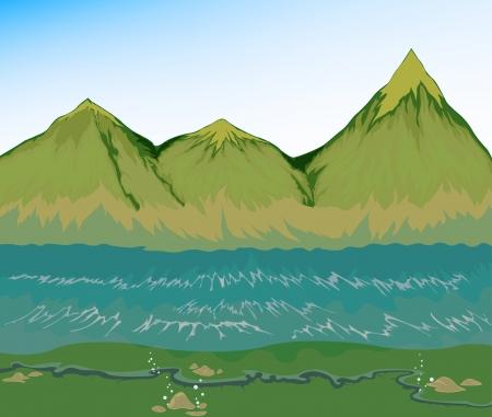 tide: Marea alta mar con la monta�a