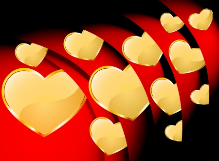 Beautiful gold heart inside the red roll background Stock Vector - 17214104