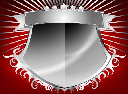 Beautiful silver shield with stars and banner background Vector
