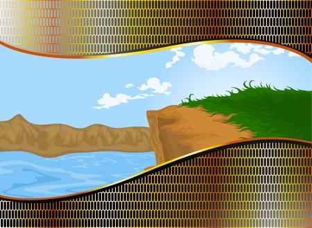 gold coast: Golden steel pattern with landscape nature background Illustration