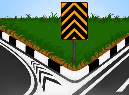 turn left: Girare a sinistra con segnale di traffico su strada