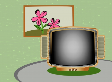 Retro TV cartoon living room style Vector