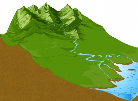 Rivers from high the mountain,Geological nature background