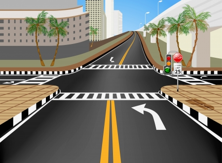Traffic intersection in the city vector cartoon background