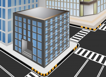 townscape: Townscape vector cartoon with traffic sign  Illustration