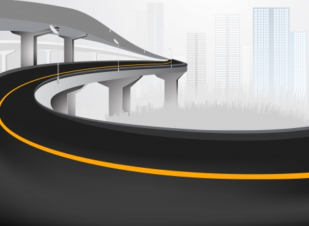 elevated: Elevated road Expressway into city