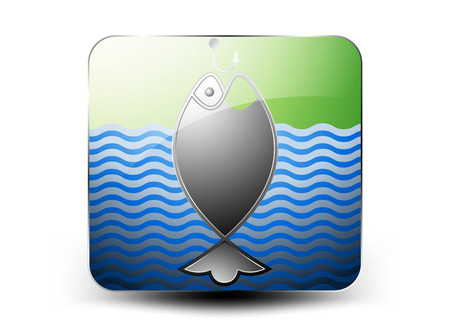 gaff: Glossy fishing icon on a white background
