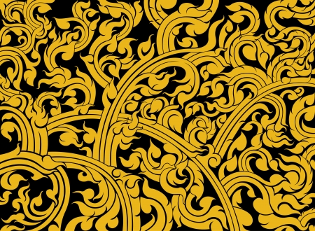 Thai art pattern on a black background Illustration