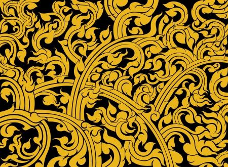 Thai art pattern on a black background Illustration