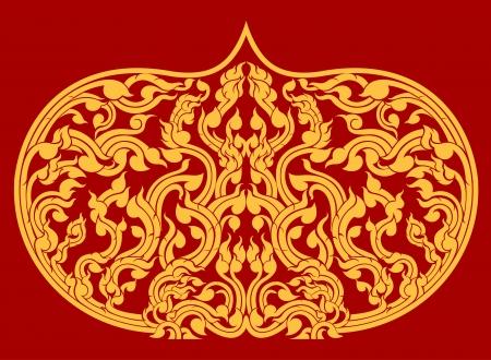 美しい背景が赤いタイ芸術パターン