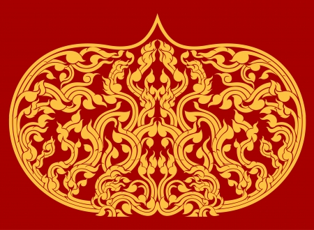 Beautiful Thai art pattern on red background