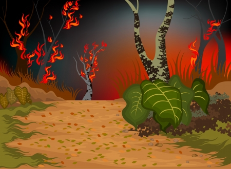 Wildfire destroys the environment nature background Illustration