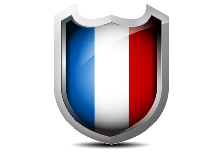 Beautiful flag of France metal shield on a white background Vector