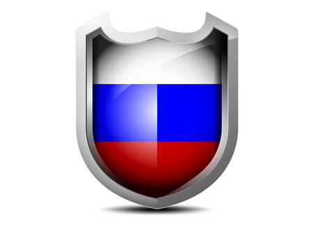 Beautiful flag of Russia metal shield on a white background Vector
