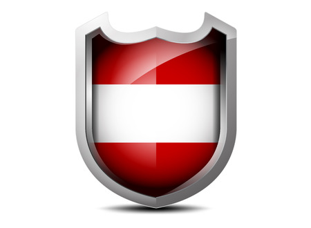 Beautiful flag of Austria meta shield on a white background Vector