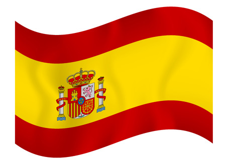 Flag of Spain waving on a white background