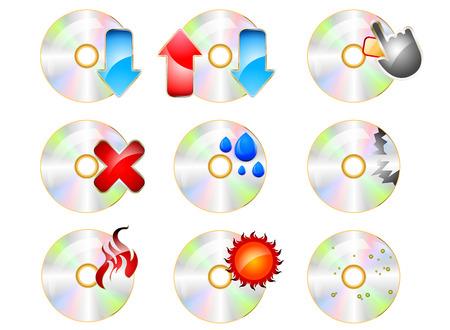 cd rom: CD ROM Icon set on a white background Illustration
