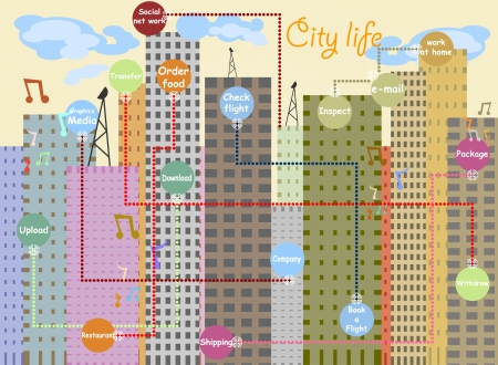 communication cartoon: City life with network and communication cartoon background