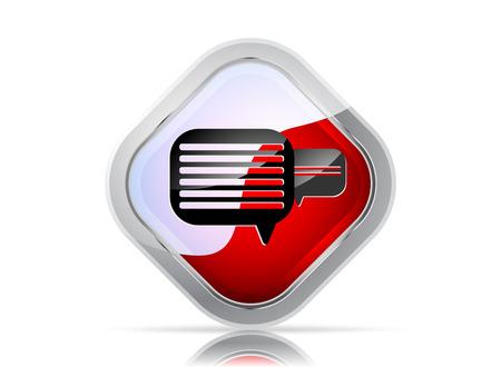 komentář: Lesklý zpráva nebo komentář ikony na bílém pozadí