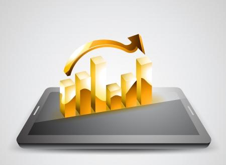 grey background: Visualizaci�n de gr�ficos de negocios en Tablet PC sobre un fondo gris