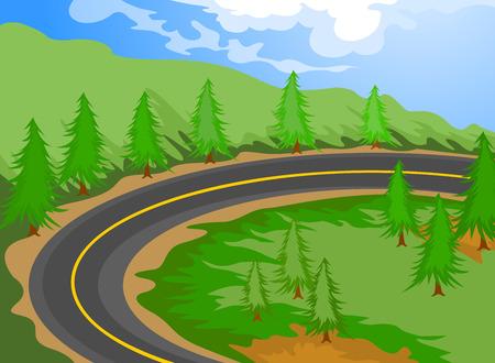 道路漫画風景の自然の背景  イラスト・ベクター素材