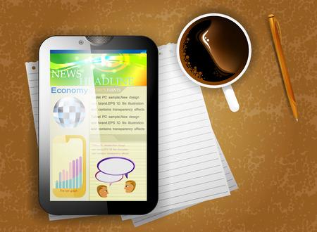 tablette pc: Tablet PC sur le bureau Illustration