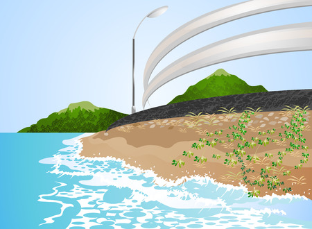 beach side: Beautiful views road side the beach Illustration
