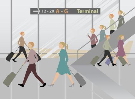 airport terminal: Terminal Airport cartoon vector background