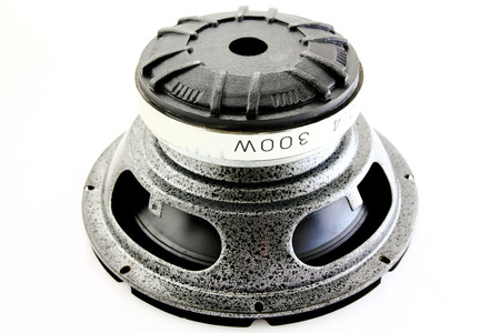 Subwoofer speakers on a white background Stock Photo