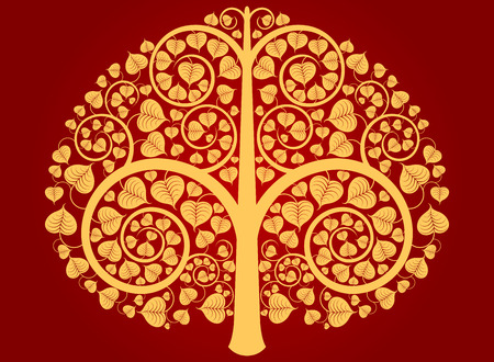 Gold Buddha tree pattern on a red background