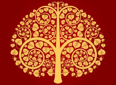 Teste padrão da árvore de ouro de Buda em um fundo vermelho