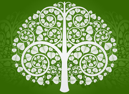 Silver Buddha tree pattern on a green background Vector