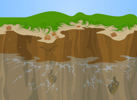 coastal erosion: Erosion of Cliff nature,Landscape background Illustration