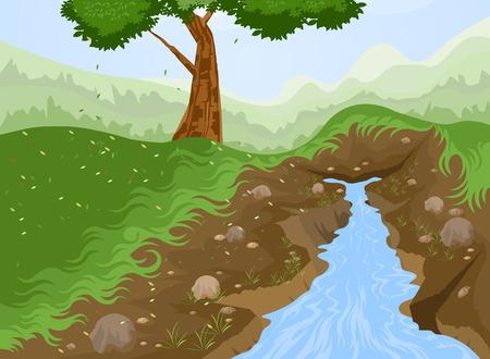 seasonal forest: Seasonal forest,Nature landscape background Illustration