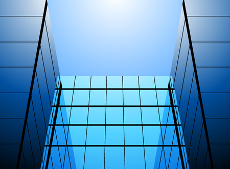 glass office: Blue glass office building vector abstract background
