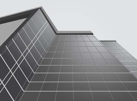 grey background: Fachada del edificio de oficinas sobre un fondo gris Vectores