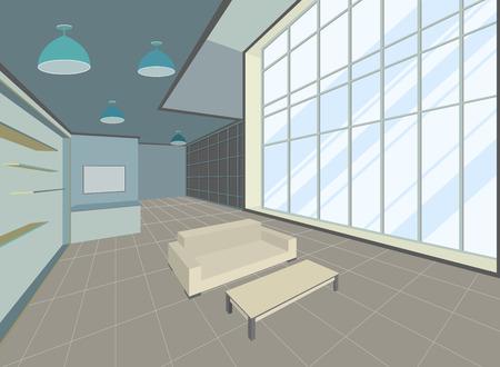 living room design: Living room scene interior design vector background Illustration