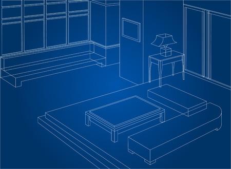 콘도: Wireframe living room interior scene background 일러스트