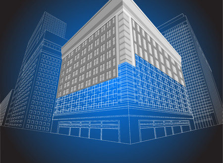 three dimension shape: Residential wireframe building on a blue background