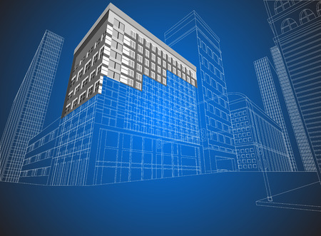 townscape: Townscape wireframe on a blue background Illustration